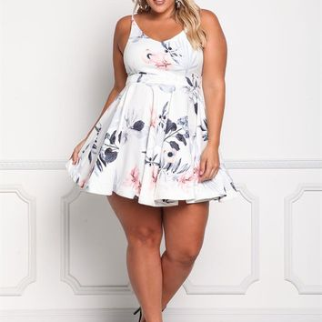 Plus Size Clothing   Plus Size Floral Flared Dress   Debshops