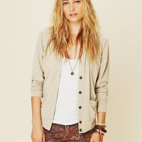 Free People Foil Ribbed Cardi