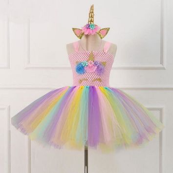 Rainbow Unicorn Tutu Tulle Dress with Hair Hoop Princess Flower Girls Party Dress Children Kids Halloween Unicorn Costume 2-10Y