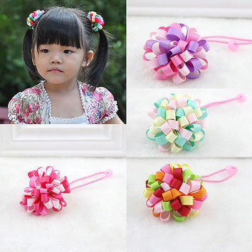 Kids Elastic Hair Rope Loopy Puffs hair Accessories for Girls Random Color 3C
