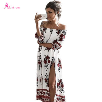 2017 summer women's print slash neck off shoulder bohemian beach dress casual long maxi high waist women split dresses clothing