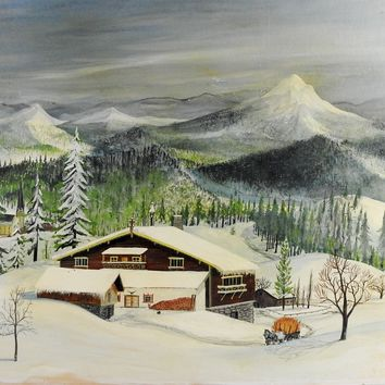 Folk Art Winter Scene Painting