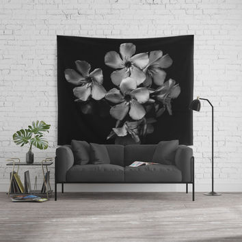 Oleander flowers in black and white Wall Tapestry by VanessaGF