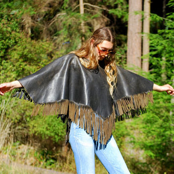 60s 70s Leather Poncho, Dark Chocolate Brown Fringed Leather Cape, Hippie Boho Poncho, Fall Winter Coat, Ethnic Native Southwestern Jacket