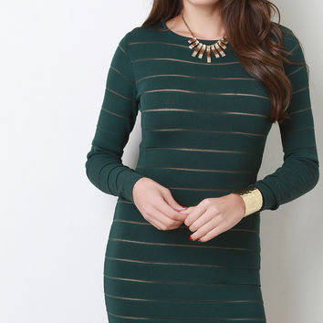 Striped Long Sleeve Bodycon Mini Dress