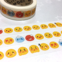 emoji face washi tape happy face cute face Emoticons masking tape cartoon mood faces chart feeling chart dairy planner sticker tape gift