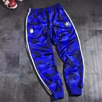 Adidas New fashion letter print sports leisure couple camouflage couple pants Blue