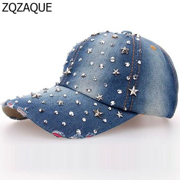 Free and Drop Shipping Women's Good Quality Manual Drill Caps Rivet Star Girls Fashion All-match Style Baseball Caps SY544