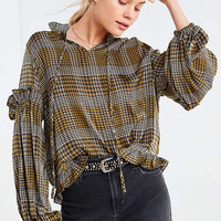 Ghospell Fiction Plaid Ruffle Sleeve Blouse | Urban Outfitters