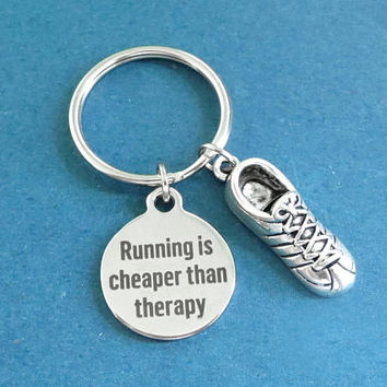Running is cheaper than therapy, Runner, Keychain, Running, Shoes, Keyring, Birthday, Lovers, Friends, Gift, Jewelry, Accessories.