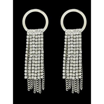 Silver Vintage Rhinestone Tassel Earrings