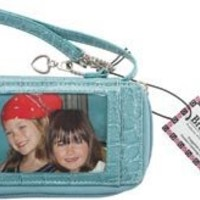 "Wristlet Smart Case In Wet Croco 5.5""X3.5""X.875""-Aqua"