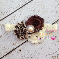 NEW Brown ivory stripe trio headband  baby by MyLilSweetieBoutique