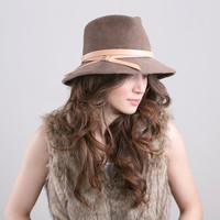 Light brown fur felt Fedora hat with leather belt, millinery winter hat, velour Fedora