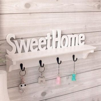 Decorative Wall Shelves Sweethome Hook Wall Rack Separator WPC Board Storage Holders & Rack Home Decorations