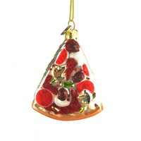 Pizza Slice Glass Ornament, 3-1/2-Inch