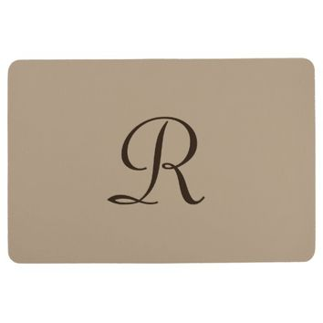 Tan With Dark Brown Monogram Floor Mat