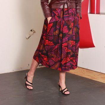 Abstract Pleated Swing Skirt / L XL