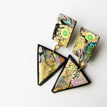Galaxy inspired earrings- contemporary- geometrical- abstract- triangle- polymer clay earrings-  dangle- handmade- modern- steampunk