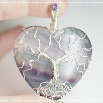 Fluorite Tree of Life pendant Sterling Silver Amethyst Wire Wrapped Tree Necklace Yggdrasil Pendant Fluorite Heart Stone Necklace Purple