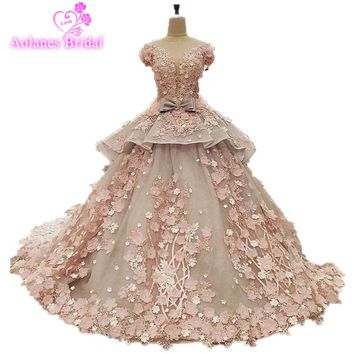 100% Real Photos Amazing High-end Wedding Dress Lace Appliques 3D Flowers Bridal Ball Gown Wedding Dress Long Train Bridal Dress