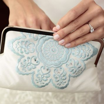 Clutch bag, wedding purse, blue and white, bridesmaid gift, MANDALA BELLE
