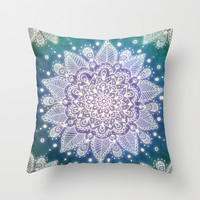 Peacock Mandala Throw Pillow by Jenndalyn | Society6