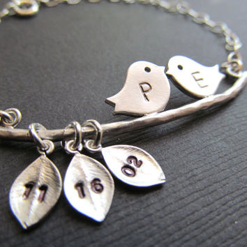 Bridal Shower Gifts, Initials Couple Bracelet, Bride to Be Gift, LOVE Birds Bracelet.Wedding date, Bridal Shower Gifts
