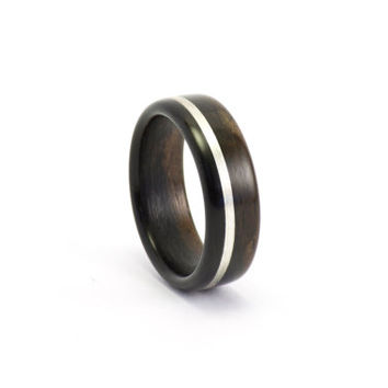 Ebony Bentwood Ring With Sterling Silver Inlay, Wood Jewelry for any Occasion