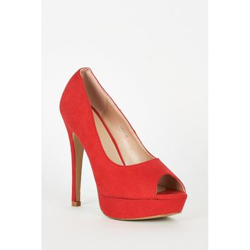 Red Faux Suede High Heel Platform Shoes