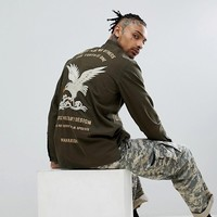 Maharishi Tour Shirt With Eagle Embroidery In Olive at asos.com