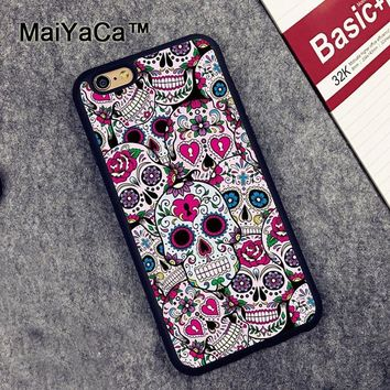 Mexican Sugar Skulls Case for Apple iPhone 6S 6 TPU Case for iPhone 6 6s Soft Rubber Skin Back Covers shell