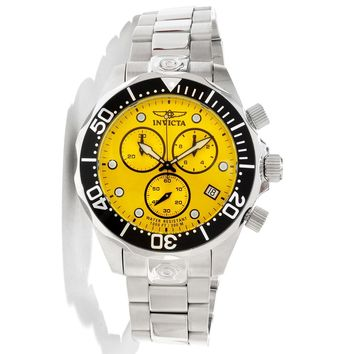 Invicta 11491 Men's Pro Diver Yellow Dial Stainless Steel Bracelet Chronograph Dive Watch