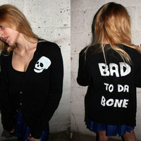 Bad To Da Bone Cardigan / Skull Black Sweater / Bad to the Bone Long Button Down