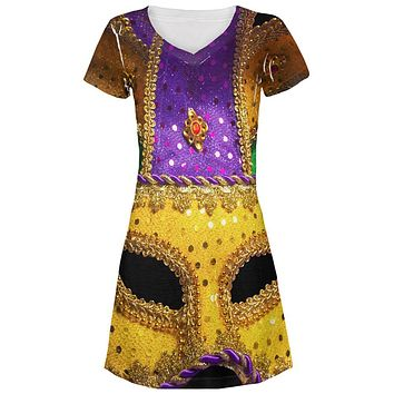 Mardi Gras Mask All Over Juniors Beach Cover-Up Dress