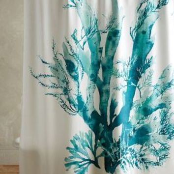 Gingko Shower Curtain by Anthropologie in Turquoise Size: One Size Shower Curtains