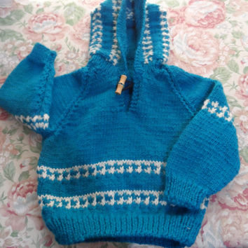 Hand Knitted Baby Hoodie Top - Baby Cardigan - Handmade Baby Knit - New Born Baby - Knitted Bay Jacket - Hoodie Jumper - Made in Australia