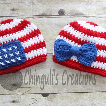 Patriotic Hat 4th of July Hat Crochet baby girl patriotic with bow, 4th of July baby boy hat, red, white stripes and flag