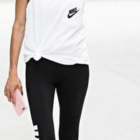DCCKBA7 Nike Signal Women Exercise Gym Top Tank + Gym Yoga Running Leggings Sweatpants Set Two-Piece Sportswear