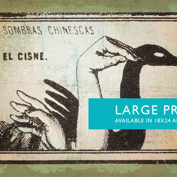 Mexican Shadow Puppet Show Print El Cisne Decor Giclee Print on Cotton Canvas and Satin Photo Paper Poster Home Wall Art