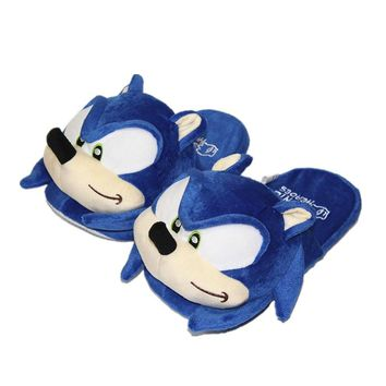 2019 Sonic the Hedgehog Plush Toys Women Men Cartoon Plush Home Slippers Fashion Winter House Indoor Shoes Soft Toys Dolls