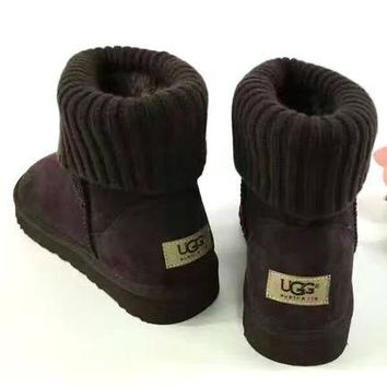 UGG Plush Leather Boots Boots In Tube Boots