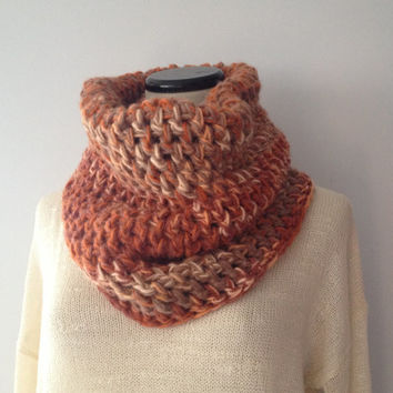 Autumn Knit Cowl Scarf - Chunky Cowl - Orange Brown Cowl - Rust Scarf - Fall Scarf - Unisex Scarf