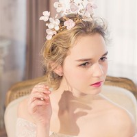 A Vintage Style Handmade Gold Ballet Pink Silk Floral Tiara Crown