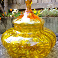 Stunning Lemon Yellow Glass Apothecary Jar with Lid, Vase, Candy Dish