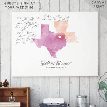 Watercolor Wedding Guest Book Alternative - Canvas Guest Book Alternative - Watercolor Map  - Unique Guestbook Print - CANVAS Guest Book