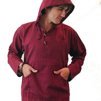 Men's long sleeve shirt with Hood -  Hippie Grandad hoodie Plain Ethnic wear Cotton Yoga