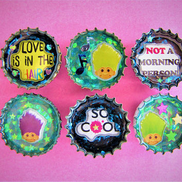 Trolls Star Music Notes Confetti Upcycled Bottle Cap Resin Magnets Handmade Recycled Reclaimed Repurposed Ceramic Magnet