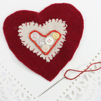 Handmade Valentine Felt Heart Applique, Red Bugle Beads, White Buttons, Hand Sewn Craft Supply