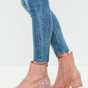 Missguided - Pink Embellished Back Ankle Boots